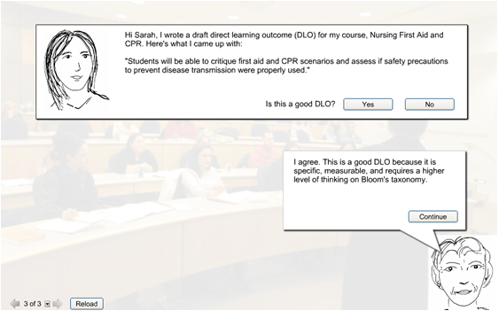Screen shot of a prototype learning activity