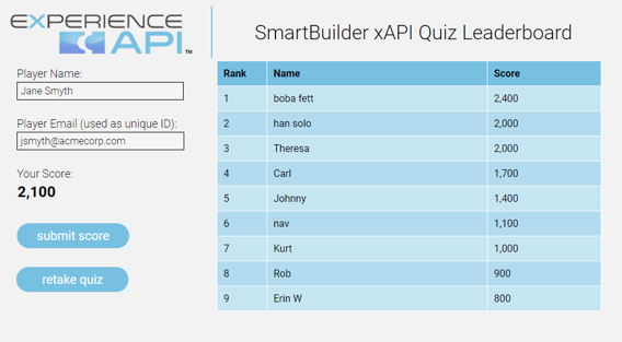 Quiz leaderboard using xAPI created with SmartBuilder