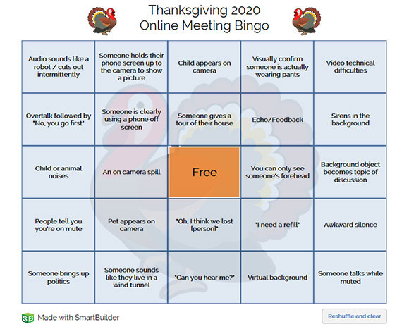 Thanksgiving Bingo game board