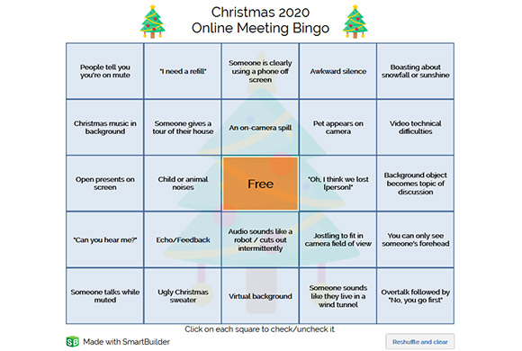 Christmas Bingo game board