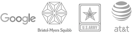 Our elearning authoring tool clients: Google, Bristol-Myers Squib, U.S. Army, and AT&T logos