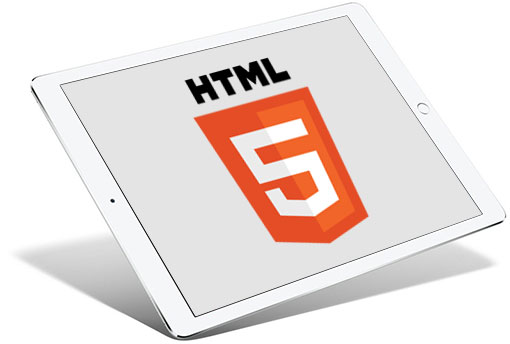 HTML5 Logo on a tablet screen
