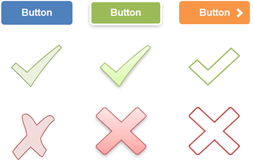 Buttons and Shapes with various styles