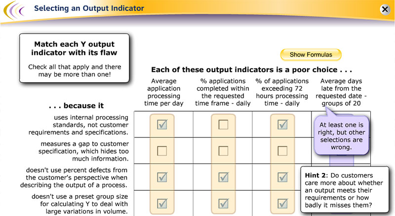 Choosing an Output Indicator for a Six Sigma Project Elearning Example