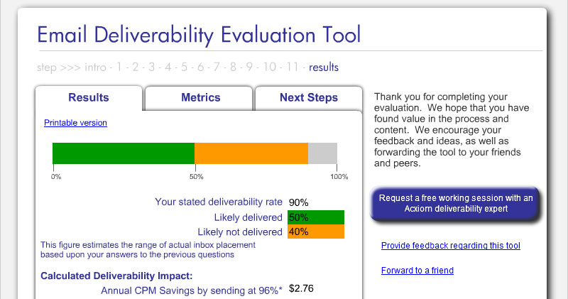 Email Deliverability Calculator Elearning Example