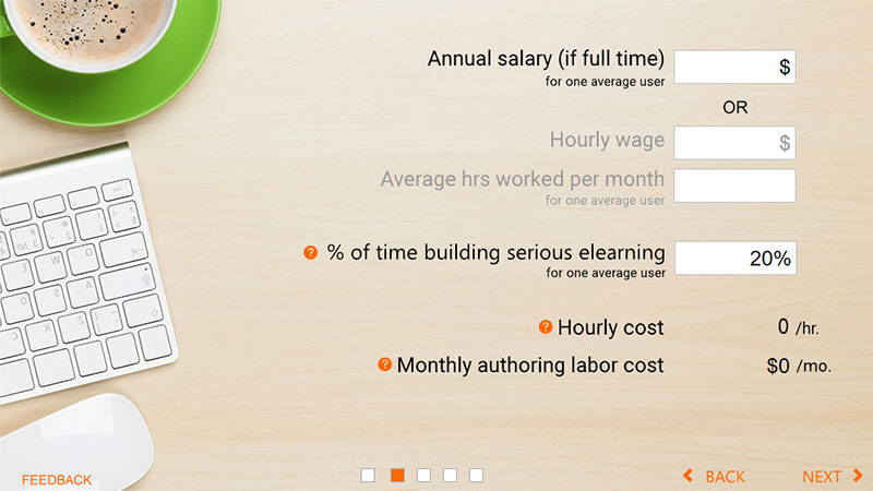 ROI Calculator Elearning Example