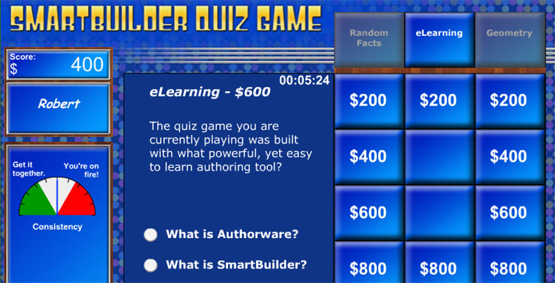 SmartBuilder Quiz Game Elearning Example