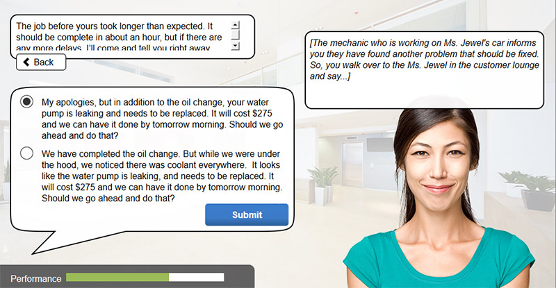Customer Service Scenario Elearning Example