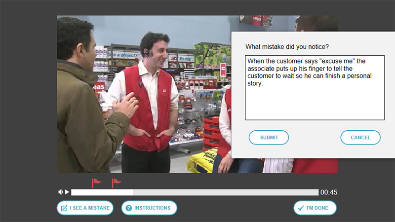 Customer Service Video SmartBuilder Elearning Example Screenshot